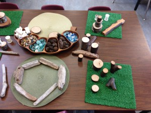 Natural materials and loose parts with grass mats