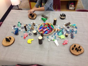 gems, natural materials and ocean finger puppets