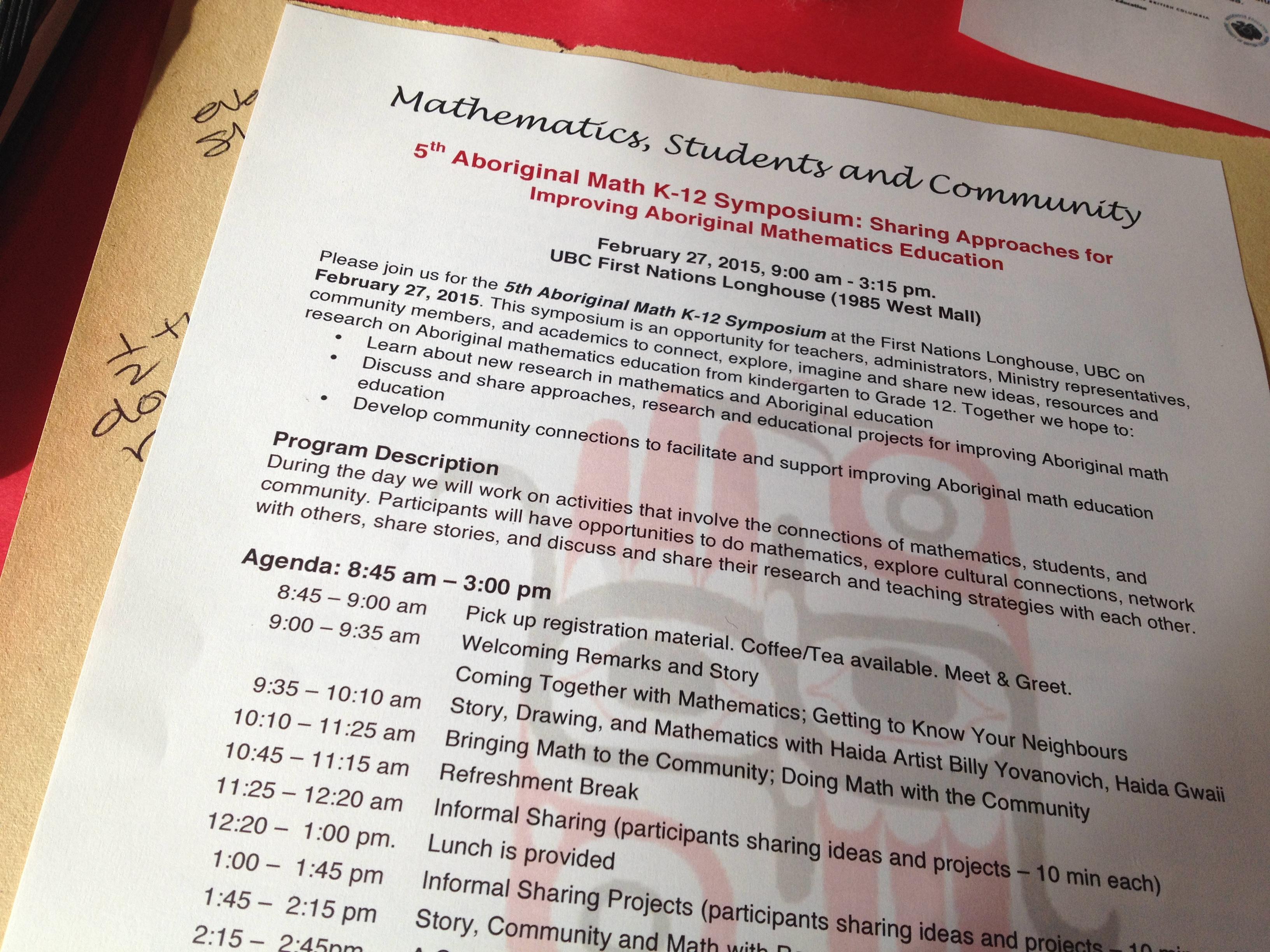 UBC K-12 Aboriginal Math Symposium 2015 - Mathematics and Science in ...